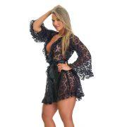 Robe Sexy Preto Todo em Renda com Fita de Cetim - EK5014