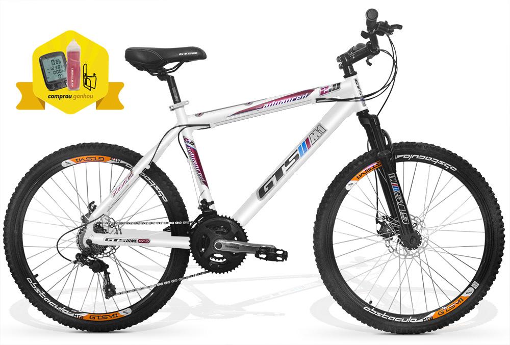 Bicicleta GTSM1 Advanced 2.0 Kit Shimano aro 26 freio a disco 21 marchas + Brindes Ciclo Computador, Squeeze e Suporte Squeeze