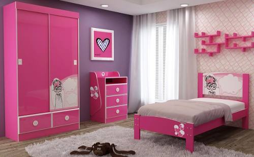 Dormit�rio Angelina C�MODA ANGELINA 3G + CAMA ANGELINA 090 + ROUPEIRO ANGELINA - Gelius