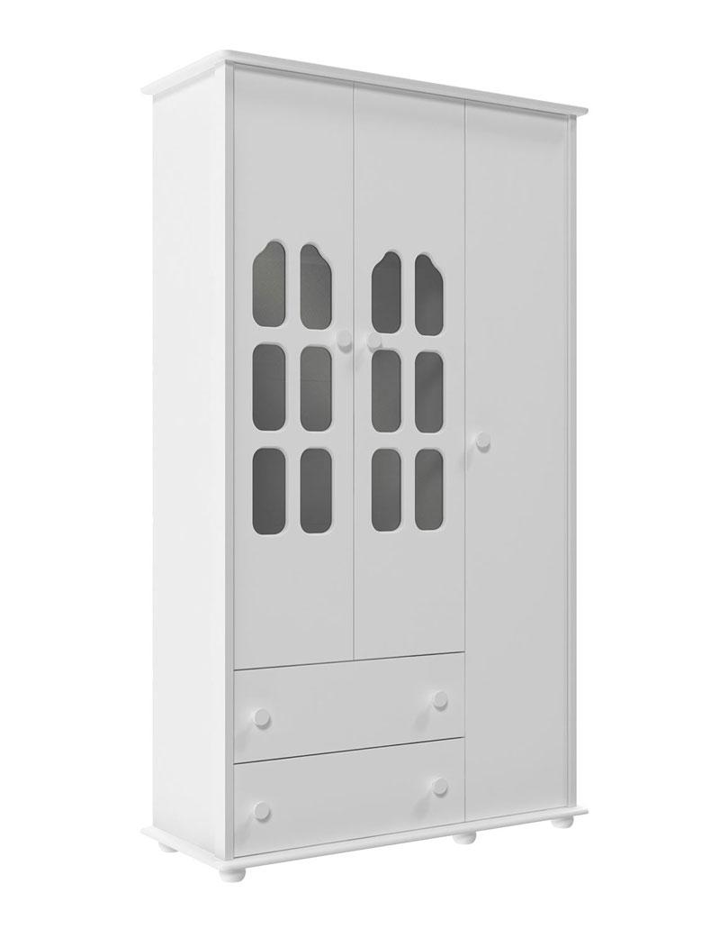Guarda-Roupa Amore 3 Portas Branco Brilho - Matic M�veis