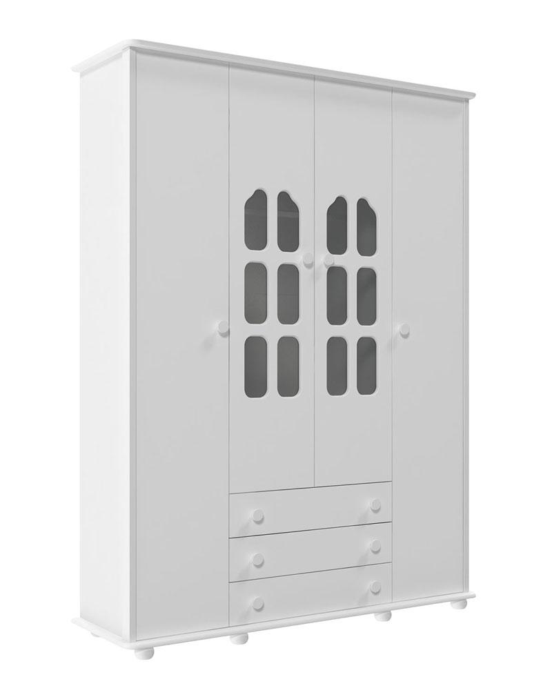 Guarda-Roupa Amore 4 Portas Branco Fosco - Matic M�veis