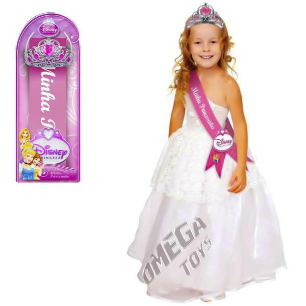 Kit Beleza Coroa e Faixa Minha Princesinha Princesas Disney - Yellow