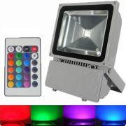Refletor Holofote Super Led RGB 100W c/ controle remoto