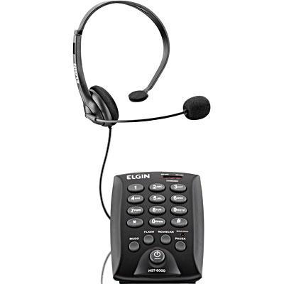 Telefone Headset com Teclado com Saída para Gravação Preto HST 6000